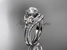 Platinum diamond floral wedding set, engagement set ADLR125S - $1,985.00