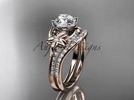 14kt rose gold diamond floral wedding set, engagement set ADLR125S - $1,985.00