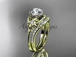 14kt yellow gold diamond floral wedding set, engagement set ADLR125S - $1,985.00