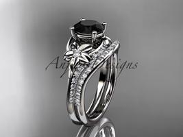 14kt white gold diamond wedding set with a Black Diamond center stone ADLR125S - $2,285.00