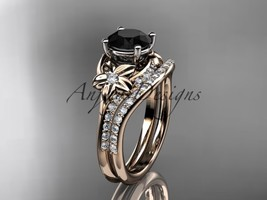 14kt rose gold diamond wedding set with a Black Diamond center stone ADLR125S - $2,285.00
