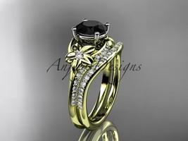 14kt yellow gold diamond wedding set with a Black Diamond center stone ADLR125S - $2,285.00