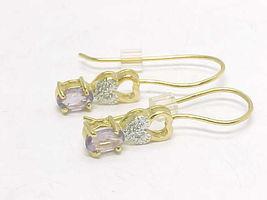 AMETHYST and 14K Gold Vermeil on Sterling Gemstone Dangle EARRINGS - 1 i... - $40.00
