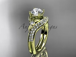 14kt yellow gold diamond engagement ring set, Moissanite  ADLR112S - $2,250.00