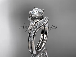 Platinum  diamond leaf and vine engagement ring set ADLR112S - $2,650.00