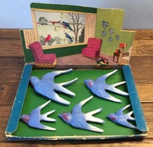 Vtg NOS Aristocraft Birds In Flight Hand Carved Wall Art 5 Piece Pin Ups... - $79.18