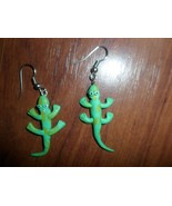 Lizzard  Earrings - Handmade Polymer Clay French Wire Dangle. Green - $2.37