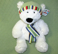 "Russ Bernard Polar Bear 15"" Teddy Stuffed Animal With Hang Tag Hat Scarf Plush - $17.82"