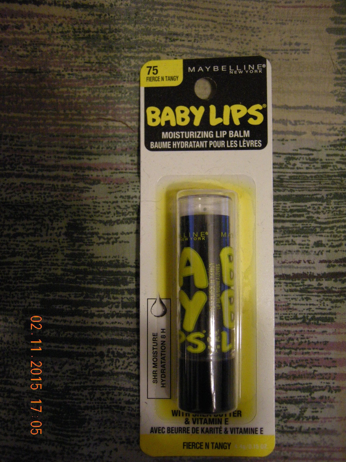 MAYBELLINE NEW YORK BABY LIPS LIP BALM NEW ON CARD FIERCE & TANGY 75 SHEA BUTTER