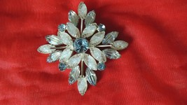 Vintage Carved Glass Flower Brooch Pin Clear & Blue Art Deco Large Pin B... - $142.49