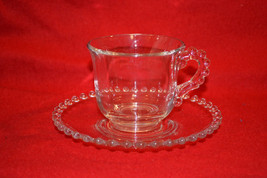 Vtg Candlewick Clear IMPERIAL GLASS 3400 Crystal Beaded Set Cup Saucer - $8.60