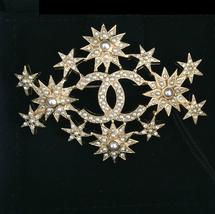AUTH CHANEL $1500 Salzburg CC XL Brooch GOLD Pin Pearl Crystal Star