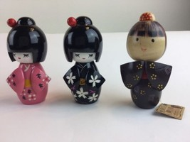 Three JAPANESE WOODEN KOKESHI DOLLs FIGURINE ST... - $28.04
