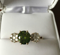 Huge 2ct Green Diamond & .5ct white diamond 14k Yellow gold Engagement r... - $8,899.99