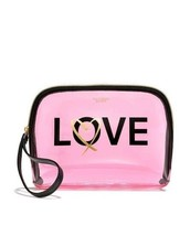 Victoria's Secret Love Beauty Makeup Bag Travel Cosmetic Case Clear Pink NWT - $9.90