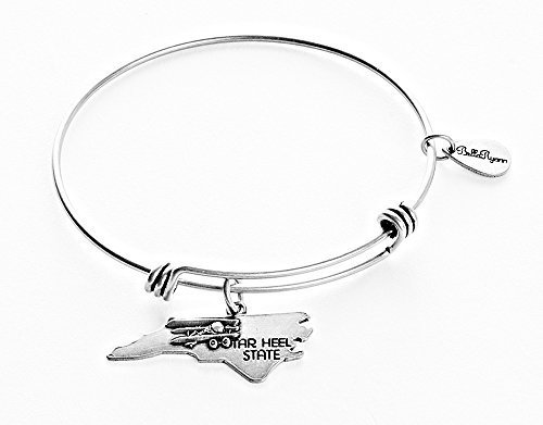 State of North Carolina Charm Bangle Bracelet (silver-plated-base) [Jewelry]