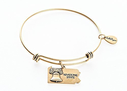 State of Pennsylvania Charm Bangle Bracelet (gold-plated-base) [Jewelry]