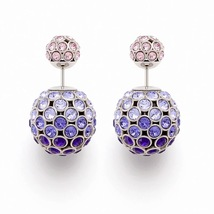 Auth Christian Dior Mise En Dior Purple Pink Esprit Tokyo Tribal Goldl Earrings  - $399.99