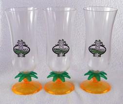 3 SKYY FUSIONS PINEAPPLE VODKA CASTAWAY PLASTIC HURRICANE GLASSES PALM T... - $19.75