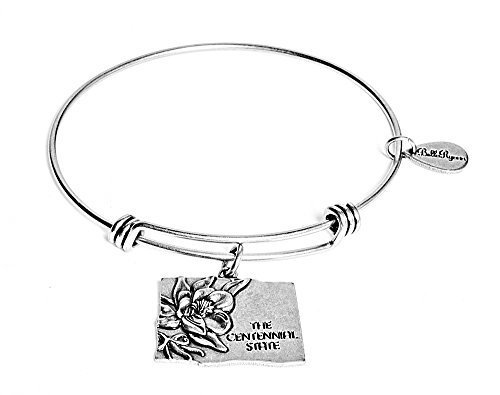 State of Colorado Charm Bangle Bracelet (silver-plated-base) [Jewelry]
