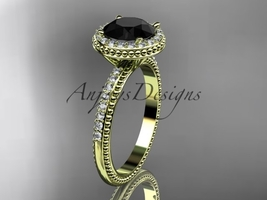 14k yellow gold diamond engagement ring with a Black Diamond center stone ADER95 - $1,755.00
