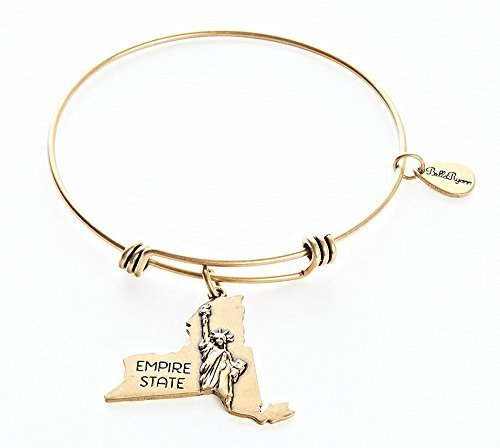 State of New York Charm Bangle Bracelet (gold-plated-base) [Jewelry]