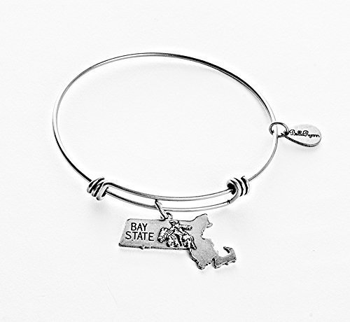 State of Massachusetts Charm Bangle Bracelet (silver-plated-base) [Jewelry]