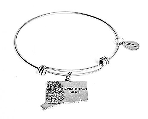 State of Connecticut Charm Bangle Bracelet (silver-plated-base) [Jewelry]