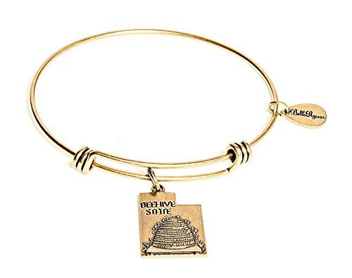 State of Utah Charm Bangle Bracelet (gold-plated-base) [Jewelry]