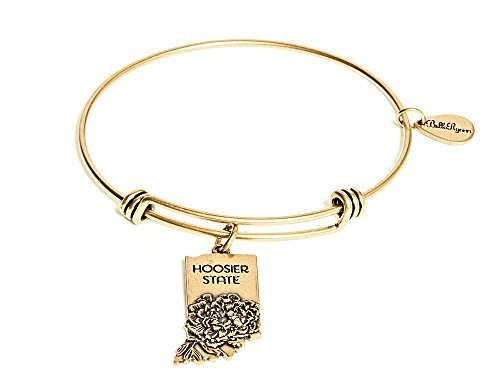 State of Indiana Charm Bangle Bracelet (gold-plated-base) [Jewelry]