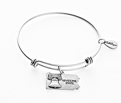 State of Pennsylvania Charm Bangle Bracelet (silver-plated-base) [Jewelry]