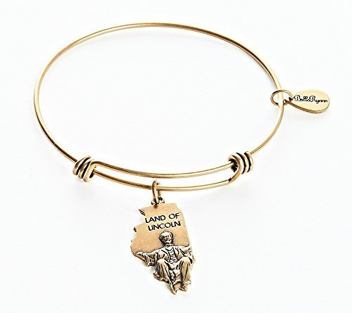 State of Illinois Charm Bangle Bracelet (gold-plated-base) [Jewelry]