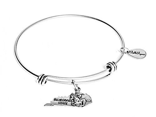 State of Kentucky Charm Bangle Bracelet (silver-plated-base) [Jewelry]