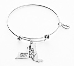 State of New York Charm Bangle Bracelet (silver-plated-base) [Jewelry]