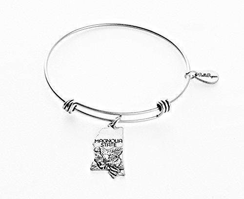 State of Mississippi Charm Bangle Bracelet (silver-plated-base) [Jewelry]