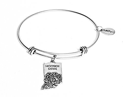 State of Indiana Charm Bangle Bracelet (silver-plated-base) [Jewelry]