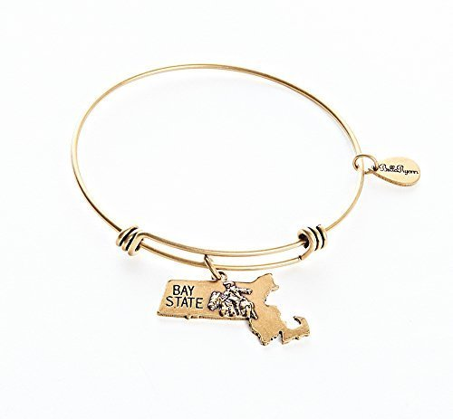 State of Massachusetts Charm Bangle Bracelet (gold-plated-base) [Jewelry]