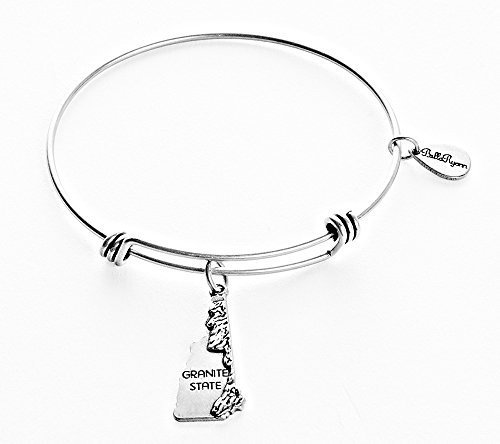 State of New Hampshire Charm Bangle Bracelet (silver-plated-base) [Jewelry]