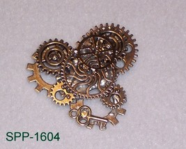 SPP-1604 - Silver Plated Steampunk Style Brooch... - $17.33
