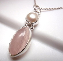 Rose Quartz Pearl Pendant 925 Sterling Silver Marquise Round Double Gems... - $13.85