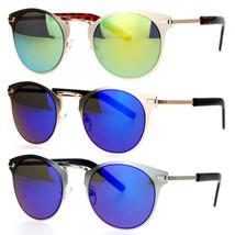 SA106 Futuristic Metal Horn Rim Hipster Color Mirror Lens Sunglasses - $10.95