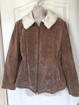 Women's Light Brown Suede Jacket With Lining Size Large - $40.00