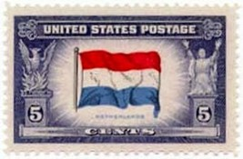 1943 5c Netherlands Flag, Overrun Nations, World War II Scott 913 Mint F... - $0.99
