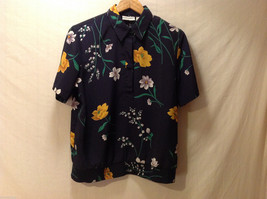 Alfred Dunner Womens dressy casual Shirt Size 10 Navy Blue 100% poly