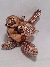 Blown Glass Bird Ornament with snow frosted dangling pine cones choice of color image 8