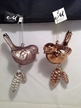 Blown Glass Bird Ornament with snow frosted dangling pine cones choice of color image 3