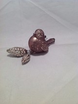 Blown Glass Bird Ornament with snow frosted dangling pine cones choice of color image 12