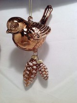 Blown Glass Bird Ornament with snow frosted dangling pine cones choice of color image 7