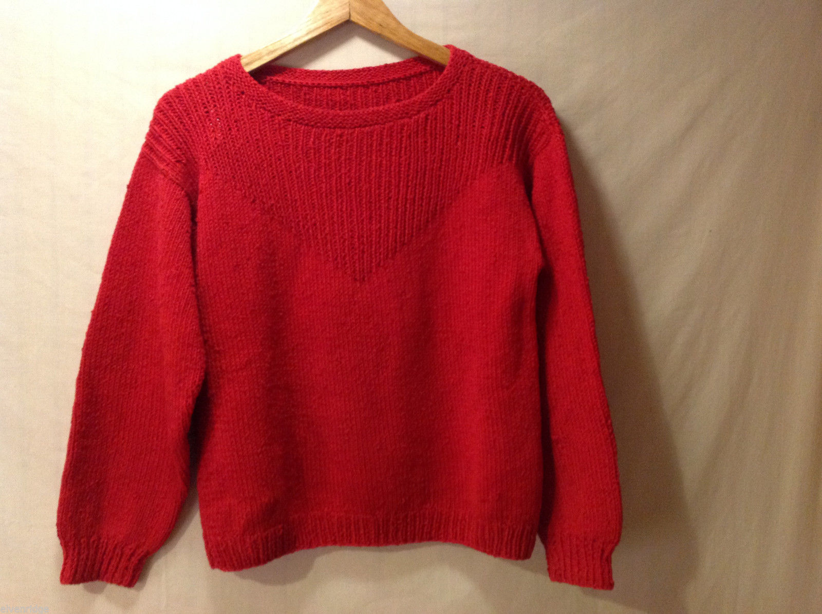 Handmade Red Sweater Long Sleeve Thick + Warm Crew Neck