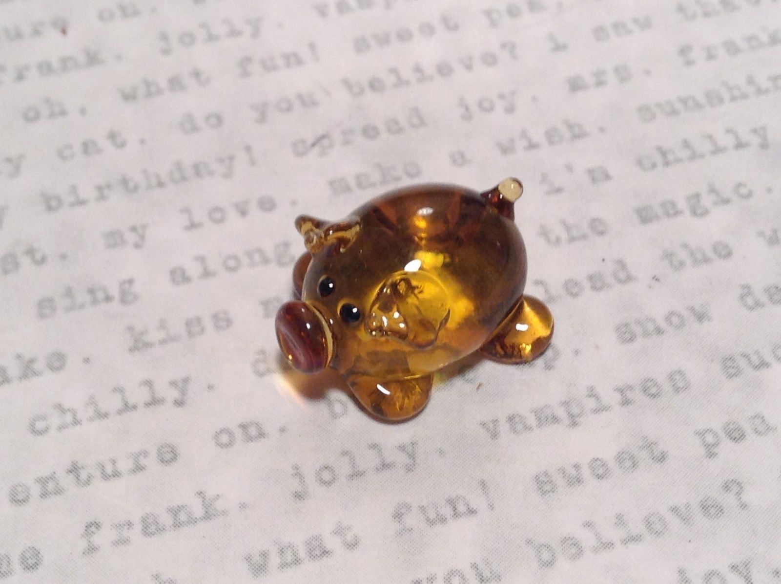 Primary image for Mini Hand Blown Glass Amber Colored Hog with Red Nose Made in USA